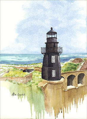 Fort Jefferson Light House Art Print by Willa Campbell