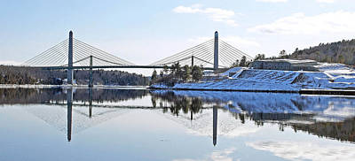 Fort Knox And Bridges Reflection In Winter Art Print