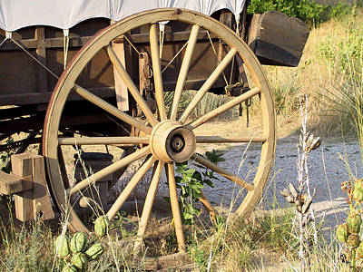 Fort Laramie Wy - Moving West On Wagon Wheels Art Print by Christine Till