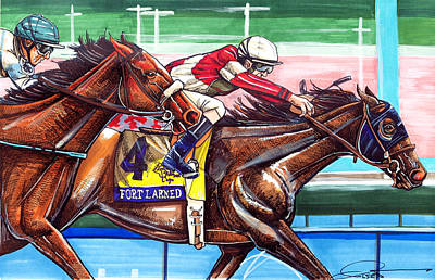 Horse Racing Drawing - Fort Larned by Dave Olsen