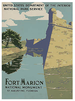 St. Augustine Florida Painting - Fort Marion National Monument In St. Augustine Florida by Elaine Plesser