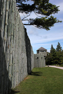 Photograph - Fort Michilimackinac Exterior Guard Tower by Mary Bedy