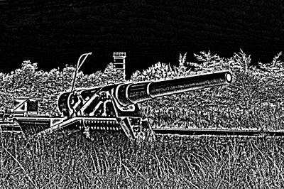 Photograph - Fort Miles 8 Inch Gun Sketch by Bill Swartwout