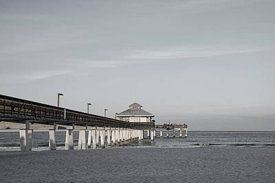 Photograph - Fort Myers Beach Pier - Black And White by Kim Hojnacki