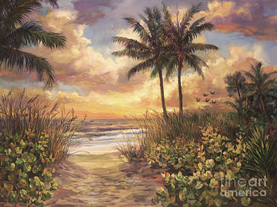 Florida Flowers Painting - Fort Myers Sunset by Laurie Hein