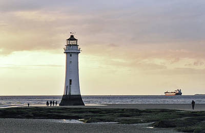Photograph - Fort Perch Lighthouse And Ship by Spikey Mouse Photography