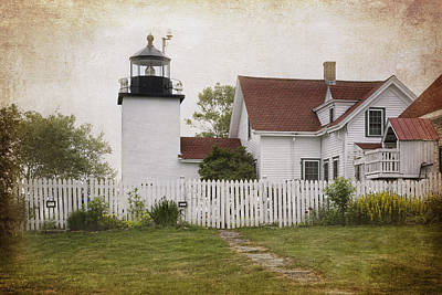 State Word Art - Fort Point Lighthouse by Joan Carroll