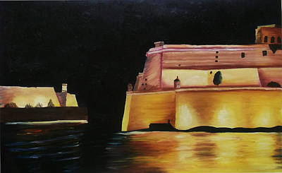 Birgu Painting - Fort St Angelo Malta by Veronique Vella Muskat