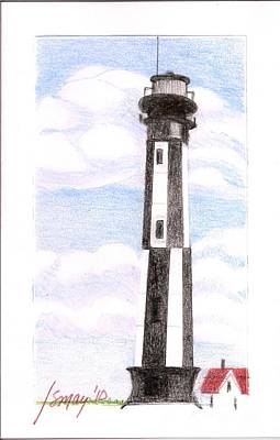 Art Print featuring the painting Fort Story Lighthouse Virginia  Beach Va by Rod Ismay