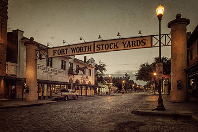 Nighttime Street Photography - Fort Worth StockYards by Joan Carroll