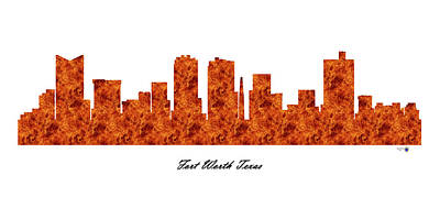 Office Decor Digital Art - Fort Worth Texas Raging Fire Skyline by Gregory Murray