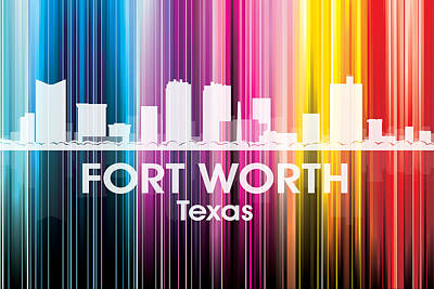Abstract Skyline Mixed Media - Fort Worth TX 2 by Angelina Tamez