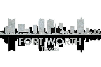 Abstract Skyline Mixed Media - Fort Worth TX 4 by Angelina Tamez