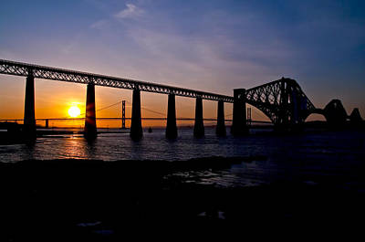 Photograph - Forth Bridges Sunset by Ross G Strachan