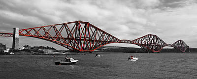 Photograph - Forth Rail Bridge - Scotland - Mono With Red by Jane McIlroy