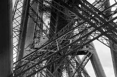 Photograph - Forth Rail Bridge Girders Black And White Version by Gary Eason