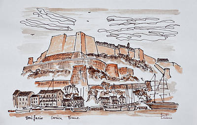 Pen And Ink Drawing Photograph - Fortified City Of Bonifacio, Corsica by Richard Lawrence