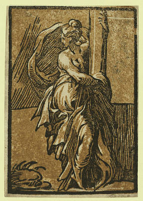 Fortitude, Between 1530 And 1550, Chiaroscuro Woodcut Art Print by Da Trento, Antonio (1508?1550), Italian