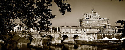 Castel Santangelo Wall Art - Photograph - Fortress And Bridge In Sepia by Weston Westmoreland