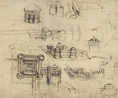 Pen Drawing - Fortress From Atlantic Codex  by Leonardo Da Vinci