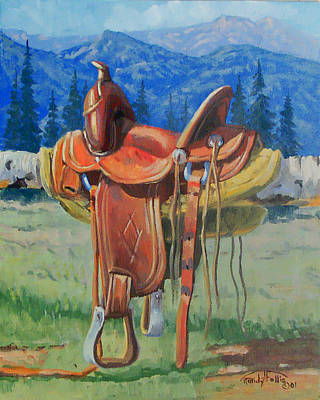Wyoming Painting - Forty Dollar Saddle by Randy Follis
