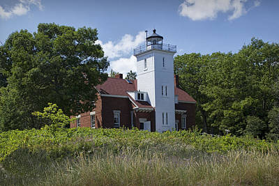 Photograph - Forty Mile Point Lighthouse In Michigan Number 450 by Randall Nyhof