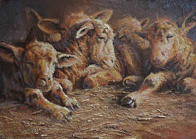 Ovine Painting - Forty Winks by Mia DeLode