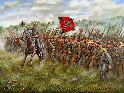 Animals Paintings - Forward to the Foe - The Charge of General William Barksdales Mississippi Brigade at Gettysburg by Mark Maritato