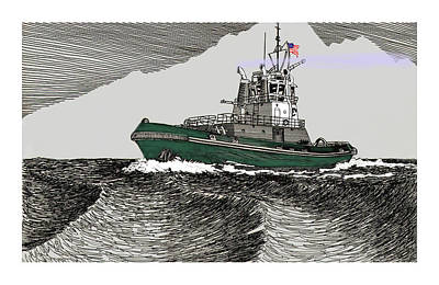 50 Cent Drawing - Foss Tractor Tugboat by Jack Pumphrey