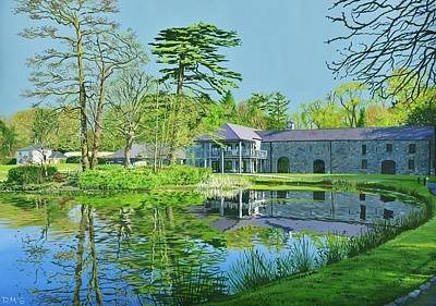 Professional Golf Painting - Fota Island Clubhouse by Rick McGroarty