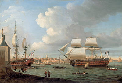 Seacape Painting - Foudroyant And Pegase Entering Portsmouth Harbour by Dominic Serres