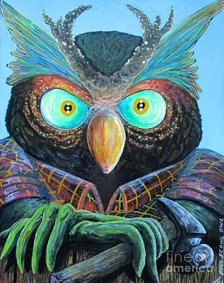 Foul Scowl Owl  Art Print by John Foss