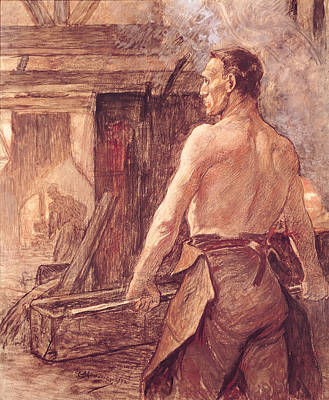 Furnace Photograph - Foundry Worker, 1902 Pastel & Gouache On Paper by Constantin Emile Meunier
