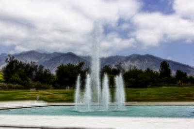Digital Art - Fountain And Mountain by Photographic Art by Russel Ray Photos