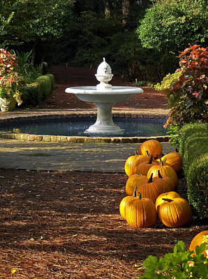 Art Print featuring the photograph Fountain And Pumpkins At The Elizabethan Gardens by Greg Reed