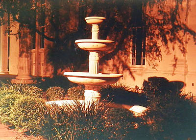Photograph - Church Fountain Night Shadows by Belinda Lee