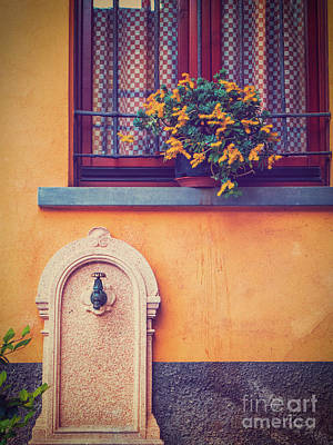 Photograph - Fountain And Window With Flowers And Checkered Curtains by Silvia Ganora