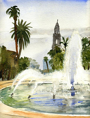 Painting - Fountain At Balboa Park by Brian Meyer