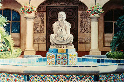 Fountain Wall Art - Painting - Fountain At Cafe Del Rey Moro by Mary Helmreich