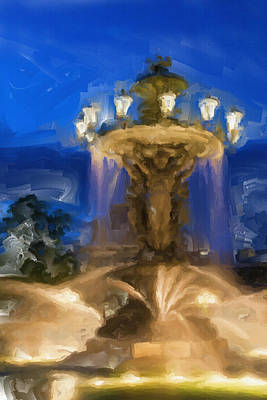 Abstract Fountain Painting - Fountain At Dusk by Inspirowl Design