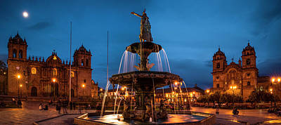 Peru Photograph - Fountain At La Catedral, Plaza De by Panoramic Images
