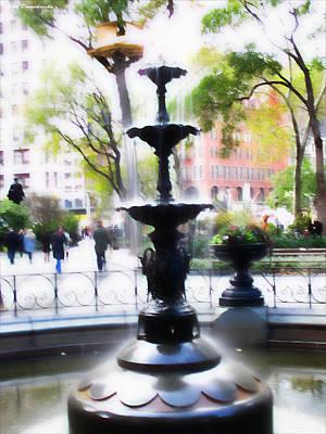 Fountain At Madison Squire Park - Artwork Art Print