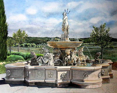 Fountain At The Vineyards Edge Original by Gail Chandler