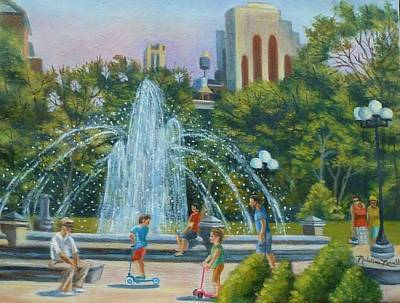 Fountain At Washington Square Park New York Art Print