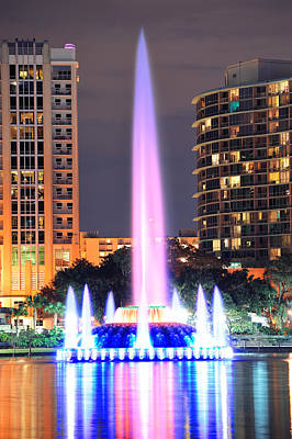 Photograph - Fountain Closeup In Orlando by Songquan Deng