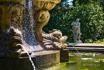 Fountain Details - Iconic Fountain At The Huntington Library Art Print