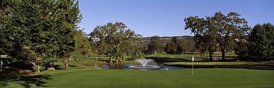 Napa Valley Photograph - Fountain In A Golf Course, Silverado by Panoramic Images