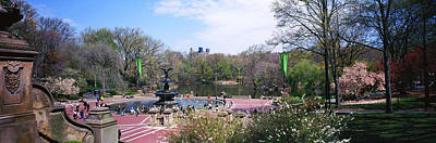 Bethesda Fountain Photograph - Fountain In A Park, Bethesda Fountain by Panoramic Images