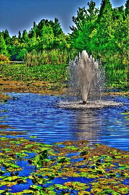 Photograph - Fountain In A Pond by Richard Zentner
