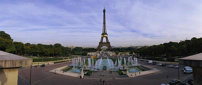 Fountain In Front Of A Tower, Eiffel Art Print by Panoramic Images